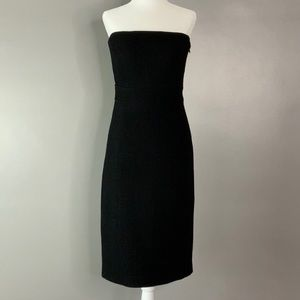 J Crew black strapless wool textured dress